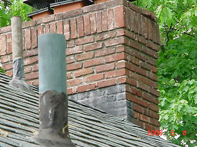 lack of flashing at chimney